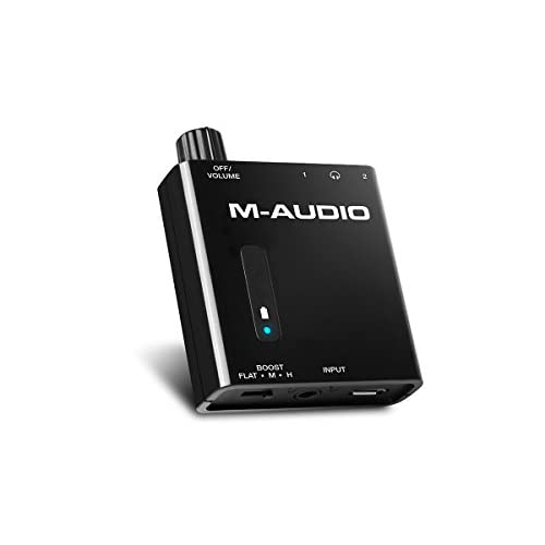 M-Audio Bass Traveler - Amplificatore per Cuffie a Due Uscite Ultra Portatile con Alimentazione a Batterie e Boost a 2 Livelli