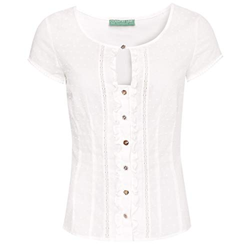 Country-Line Damen Trachten-Mode Trachtenshirt Annerl in Ecru traditionell, Größe:42, Farbe:Ecru