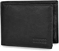 Mokies Men's Wallet 100 % Genuine Cowhide Leather RFID and NFC Protection Landscape Format