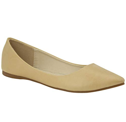 Bella Marie Angie-53 Women's Classic Pointy Toe Ballet Slip On Flats Shoes (11, nude-18pu)