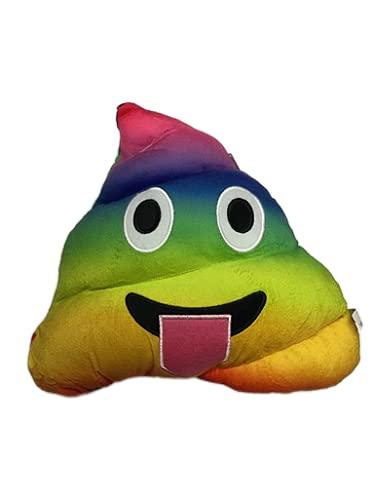 Cuscino Emoji Grande a Forma di Cacca Colore Arcobaleno, Cuscino Imbottito Emoticon Morbido e Soffice - 32x30cm, Colore Arcobaleno Classico