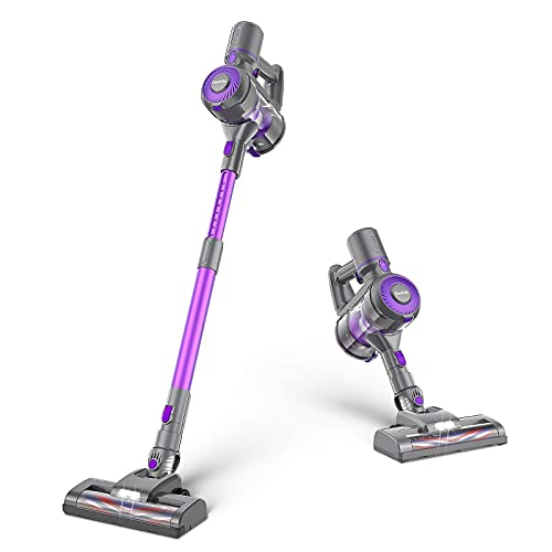 GeeMo E4 Cordless Vacuum Cleaner, 20 Kpa Powerful Suction 4 in 1 Stick Vacuum Cleaner, Removable Battery, Ergonomic Design Ideal for Hardwood Floor Carpet Tile Car pet Hair (Purple)
