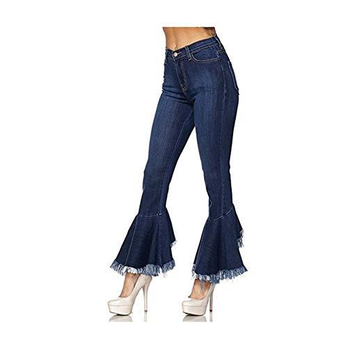 XINGJIJIJIA Taillierten Frauen-Petalum Stripes Schlanke Taille Jeans Trompete Und Weisetroddel Strumpfhosen Low Camouflage Print (Color : Dark Blue, Size : M/10)