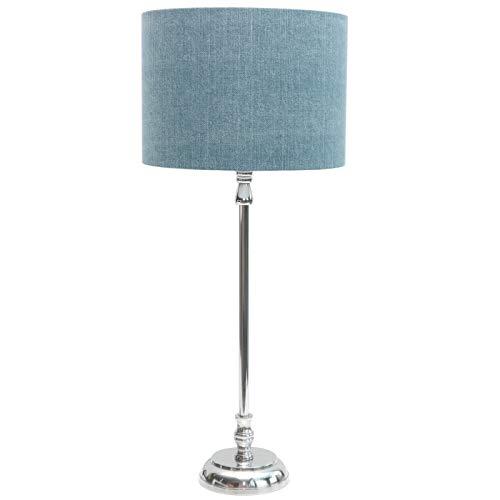 Tischlampe 'Vintage Blue' Tischleuchte blau silber Nachttischlampe Nickel Lampe von Light and Living klassisch modern