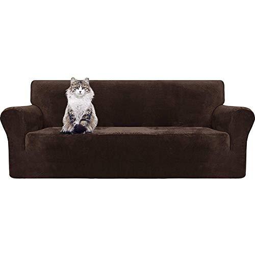 B/H Elastano elástico Funda de sofá,Funda de sofá Antideslizante Gruesa, Funda de sofá de Alta Elasticidad-marrón_190-230cm,elástico Tejido Protector por sofá Funda