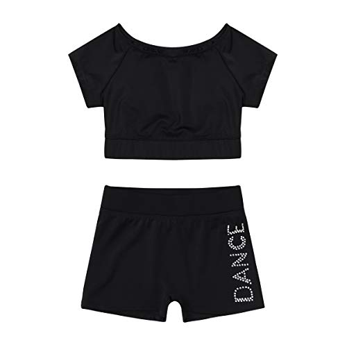 inlzdz Kids Girls Classic Dance Crop Top with Booty Shorts Gymnastics Dancewear Athletic Outfits Costume Black 8-10