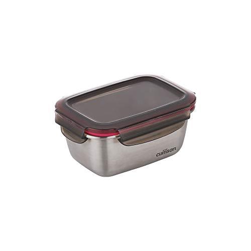 CANDL Cuitisan (Flora) Frischhaltedose aus rostfreiem Edelstahl mit Clipverschluss-Deckel, rechteckig, geeignet für die Mikrowelle + Ofen, Vorratsdose, EC7-SS04, (14,8cm x 10,8cm x 7,1cm / 500ml)
