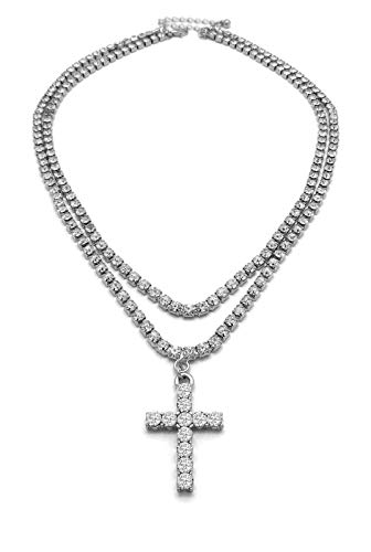 Mens Iced Out Cz Ankh Cross Hip Hop Pendant 3mm 16' & 18' 1 Row Tennis Chain Necklace (Cross Tennis Necklace Silver)