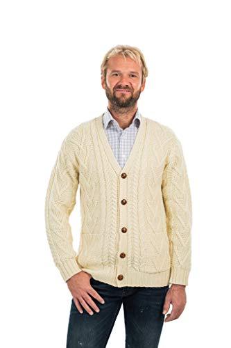 Mens V Neck Cable Cardigan (Natural, XLarge)