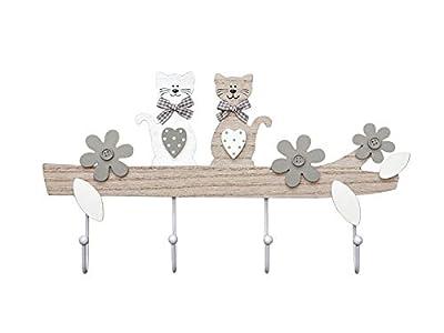 Perchero de pared colgador de pared 4 cuatro ganchos para pared o puerta, madera diseño original perchas de gato decorativo para gattos y animales gris pardo natural 4 Hook Cat Design Coat Hooks