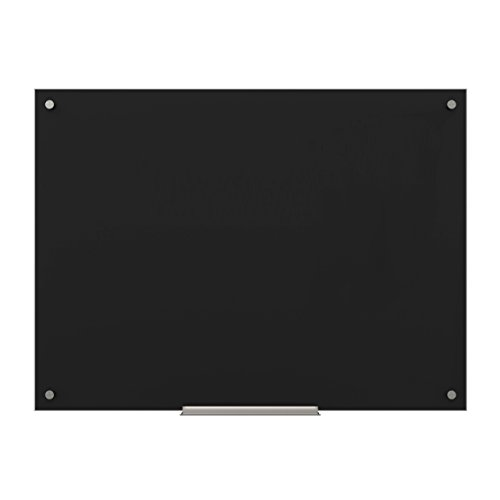 U Brands Glass Dry Erase Board, 47 x 35 Inches, Black Non-Magnetic Surface, Frameless