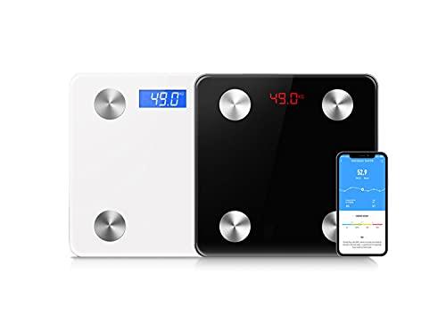 Escala de grasa corporal Bluetooth, báscula de baño digital para BMI, báscula de pesaje inteligente con alta precisión, monitores de composición de grasa corporal con aplicación de smartphone