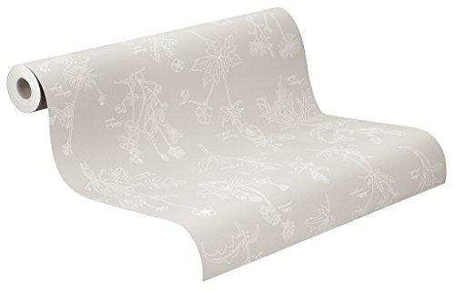 Rasch Tapeten 897418 Vlies-Tapete, florales Muster, Landhaus-Stil, Freja, Weiß