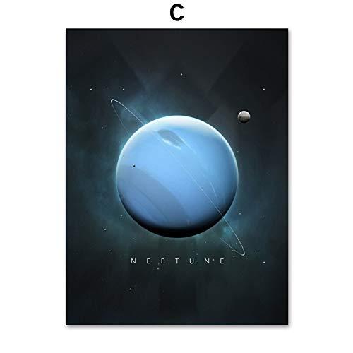 UIOLK Lienzo artístico Sol Venus Saturno Marte Tierra Estrella Bola Pared Arte Lienzo Carteles nórdicos e Impresiones Pintura Decorativa