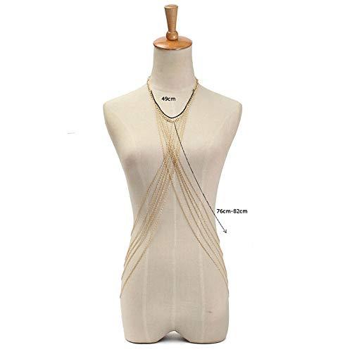 SMXGF Fashion Womens Sexy Summer Beach Tassel lichaamstaille Chain Fringe Dwarsligger Schouder Bikini Harness Belt Chain tailleband Ketting (Color : Gold color)