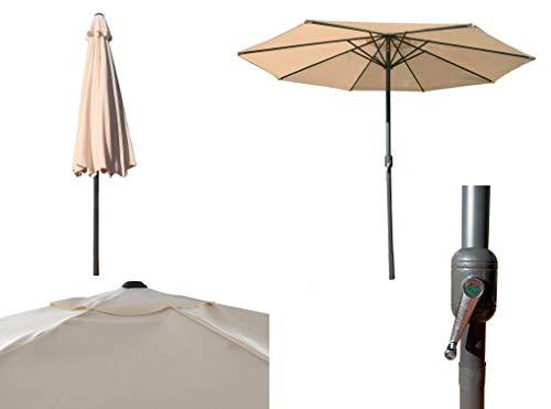 Parasol de Aluminio Beige con ventilación para terraza, Jardin de 300 cm 8 Varillas mastin Central de 48 mm (Beige)
