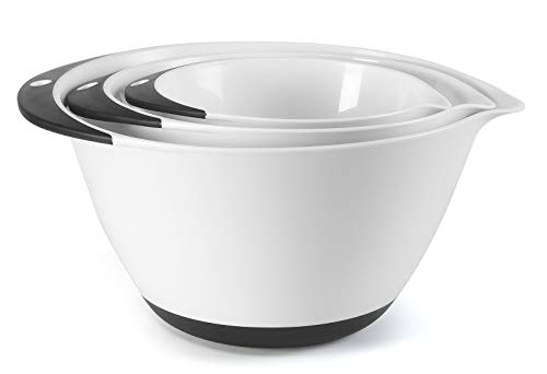 PICKWILL Mixing Bowl Set,3-piece Baking Bowls,Non-slip Silicone Bottom Nesting Storage Bowls,Easy to Clean,Space Saving Prepping Bowls with Pour Spout and handle,Size 1.6 3.2 5.2 Quart,White