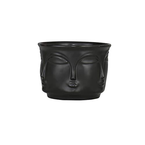 UPKOCH Vaso per piante grasse, in ceramica, per il viso, per la casa, per piante grasse, cactus, decorazione da tavolo, colore nero