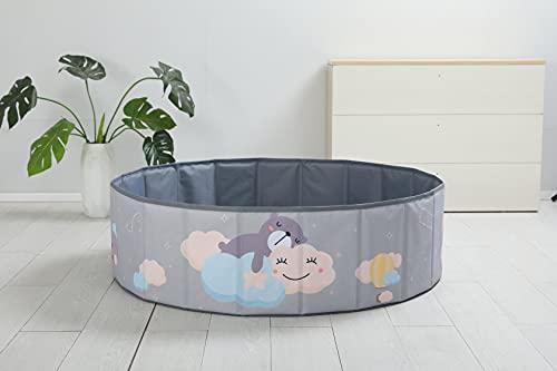 bamitus - Piscina de Bolas Plegables para Bebe y Niños para Jugar Arenas y Juguetes, 120 cm Diámetro, Diseño Impreso (Nubes, 120x30 cm)