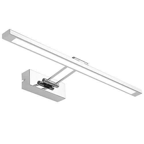 Klighten Lampada per Specchio LED Bagno 55CM 12W Lampada da Specchio 180° Regolabile Lampada per Armadio Specchio Applique da Interno Bagno Bianco Freddo 5500K
