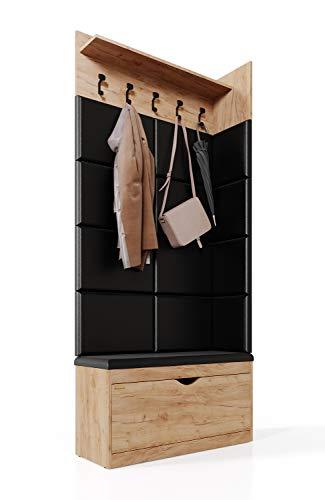 Platan Room Wand-Garderobe Set mit Garderobenpaneel & Schuhschrank & Hängeschrank 100 cm Flurgarderobe Garderobenset Flur Eiche Holz Weiß (Eiche Gold, 3-TLG. mit 12 paneel)
