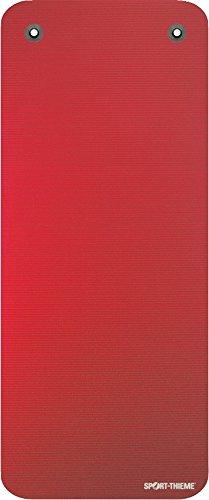 Sport-Thieme Gymnastikmatte Premium mit Ösen | Schadstofffreie Fitnessmatte, Trainingsmatte, Yogamatte | Rot | LxBxH: 190x80x1,5 cm | geschlossenzelliger Spezial-Schaumstoff | 2,4 kg