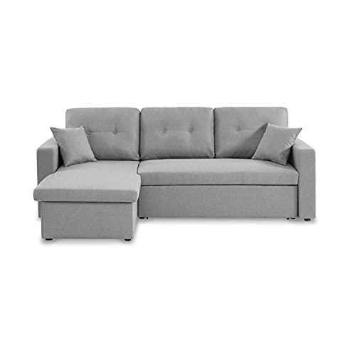 Canapé d'angle Convertible en Tissu Gris Clair - IDA - 3 Places, Fauteuil d'angle réversible Coffre Rangement lit modulable