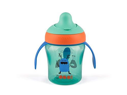 Suavinex - Vaso Aprendizaje Bebé BOOO. Con Boquilla Rígida y Asas Removibles. Para Bebés +6 Meses. Apto Para Lavavajillas. 200ml, Color Verde