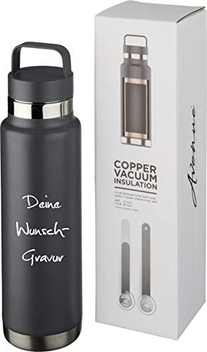 Schmalz® Sportflasche Colton inkl. Gravur 600ml vakuumisolierte Isolierflasche aus Kupfer Edelstahl mit Kupferisolierung auslaufsicher (grau, mit Gravur)