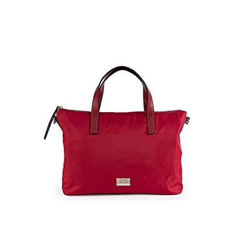 PACO MARTINEZ | Bolso de mano nylon rojo casual |Incluye asa bandolera extraíble