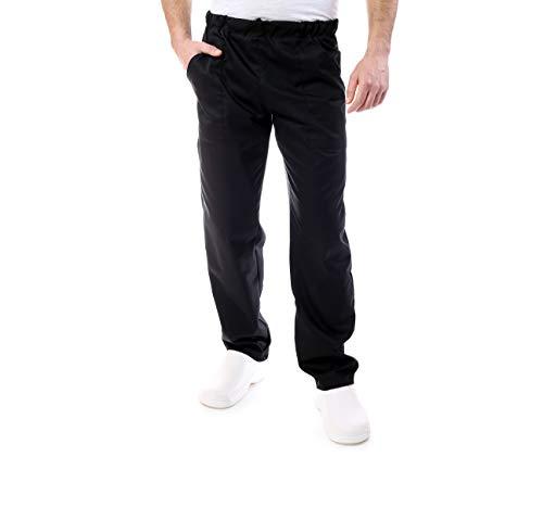 pantalón de Chef, para restaurantes y para la Cocina, Uniforme de Trabajo, Pantalones de Cocinero, para Hombre y Mujer, Negro, Made in Italy (XL)