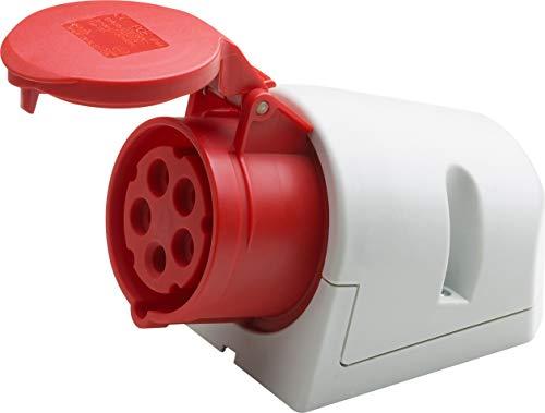 Meister CEE-Steckdose - Aufputz - 5-polig - rot - 400 V - 32 A - Maximaler Kabelquerschnitt 6,0 mm² (flexible Adern) & 10,0 mm² (starre Adern) - IP44 Außenbereich / CEE-Wandsteckdose / 7424110