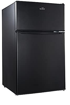 willz WLR31TBK Compact Refrigerator, 3.1 Cu.Ft Fridge With Dual Door, Adjustable Mechanical Thermostat with True Freezer, Reversible Doors, Black (WL31TBK)