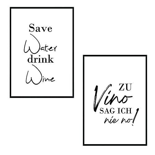 Set - Poster Bild DIN A4 - Zu Vino sag ich nie no Bilder - Die Geschenkidee für Weinliebhaber - Plakat Spruch lustiges Wein Geschenk Wine Sprüche Typografie schwarz weiß Küche Wohnzimmer Deko