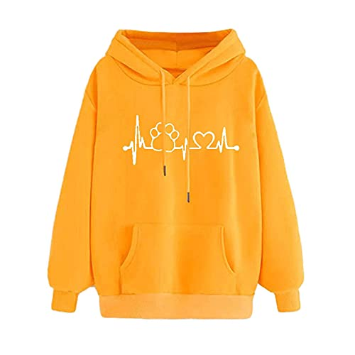 Uqiangy Womens Classic Hooded Sweatshirt Cute Print Hoodie Autumn Winter Casual Sport Pullover Tops With Pocket,M-XXXL (I-Yellow, 16)