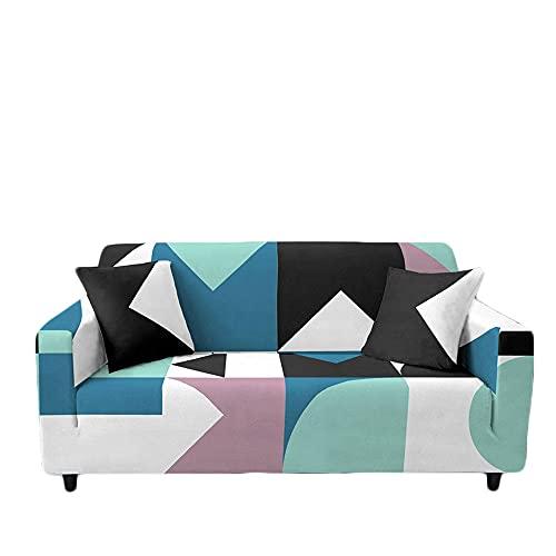 Meiju Fundas de Sofá Elasticas Ajustables de 1 2 3 4 Plazas Impresión Geométrico Universal Antideslizante Cubierta de Sofá Funda Cubre Sofas Furniture Protector (Azul Verde,1 Plaza - 90-140cm)