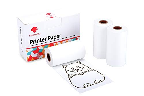 Phomemo Printer Paper Self-Adhesive Thermal Paper, Printable Sticker Paper for M02/M02 Pro/M02S Pocket Printer, Black on White, 1.97 Inch x 11.48 Feet (50mm x 3.5m) for Picture Planner List, 3-Roll