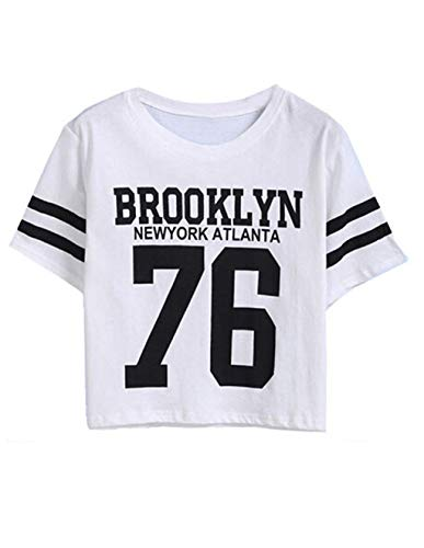 Siennaa Top Damen Sommer Shirt, Teenager Mädchen Streifen Brooklyn 76 Crop Tops Gestreift Bauchfrei Shirt Bluse Baseball New York Oberteil Kurzes Tank Top Hemd Frauen Kurzarm T Shirt (Weiß, L)