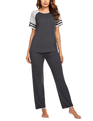 Ekouaer Women 2 Piece Pajamas Sets O Neck Tops and Pants Cotton Nighty Loungewear PJ Sets Dark Grey XXL