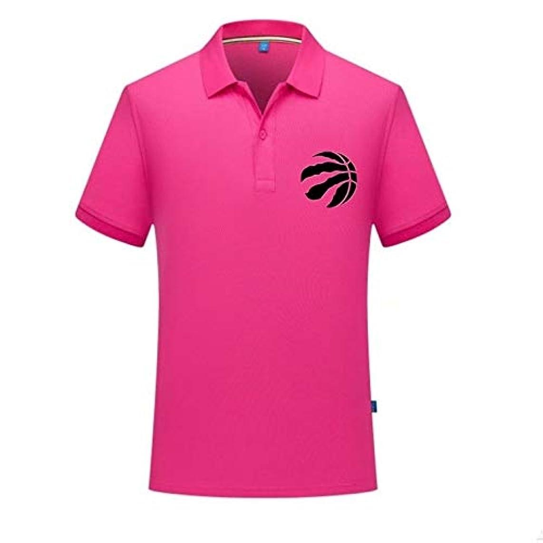 ホールド責任キュービック標準のバスケットボールチームのロゴのプリント半袖Tシャツの男性が大きなヤードがポロシャツ通気性をラペル緩いです
