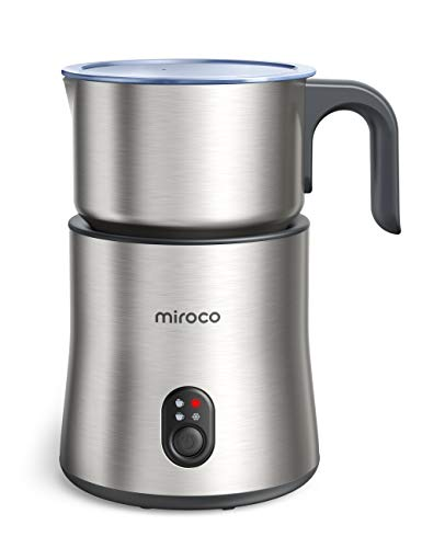 Detachable Milk Frother, 4 in 1 Miroco 16.9oz Automatic Stainless Steel Milk Steamer with Hot & Cold Foam Latte, Cappuccino, Macchiato, Warm Milk, Hot Chocolate, Dishwasher Safe, Silent Operation,120V