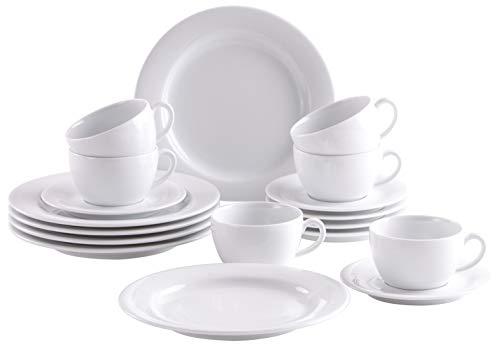 Kahla 570436O90057C Pronto Kaffeeservice für 6 Personen weiß Kaffeeset 18-teilig Porzellan für Kaffee Kuchen Tee Frühstück Tasse Teller Untertasse