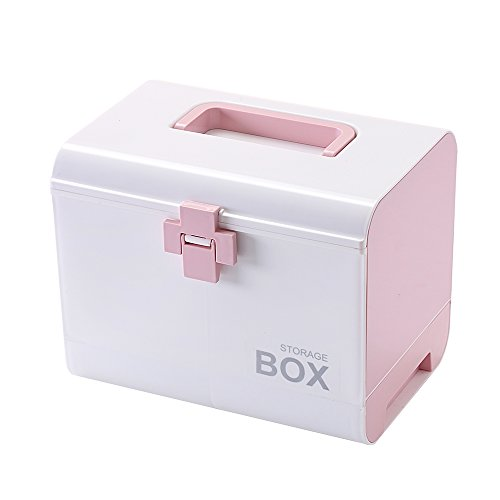 IMPR3·TREE Plastic Child Proof Security Storage Box Organizer Medicine Box Family Emergency Kit (Pink)