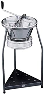 Paderno World Cuisine 15 quart tinned steel food mill with 7 7/8 inch inch diameter sieve and food mill stand