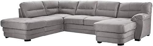 Mivano Wohnlandschaft Royale, Zeitloses U-Form-Sofa mit hohen Rückenlehnen, 316 x 90 x 230, Mikrofaser, grau