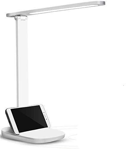 Lámpara Escritorio LED Regulables, Puerto Carga USB, Lámpara de Mesa Protección Ocular, Oficina con Control d Panel Táctil, Luz Lectura Bajo Consumo