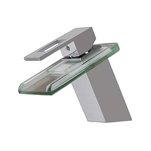 Mijogo Glazen wastafel waterval waterkraan warm en koud eenhands waterval wastafel waterkraan een gat groot rechthoekig toilet badkamerkast bassin
