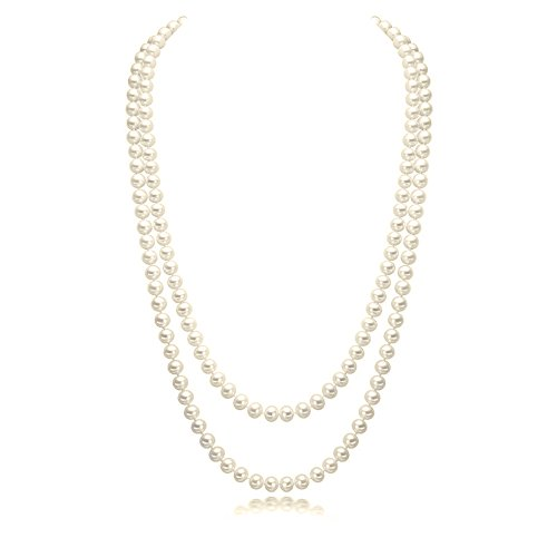 CrazyPiercing Faux Pearls Beads Necklace, Glass Strand Beads Necklace Chain, 1920s Fashion Imitation Pearls Long Necklace Vintage Costume Jewelry Necklace 55' Diameter of Pearl 0.32' for Women