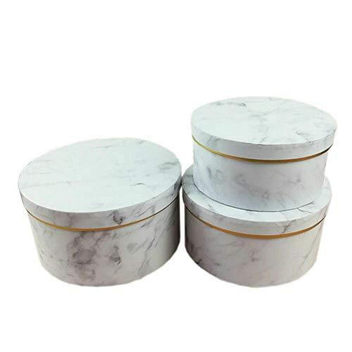 Fintass - Cajas Redondas para Sombreros de Flores, 3 Unidades, diseño de mármol, para Bodas y Fiestas