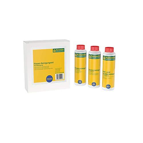 Kemmler Fliesen Reinigungsset FRS06 Inhalt je Set 3 Flaschen, je 200 ml Fliesenreiniger FR02, Intensivreiniger IR02, Bad- und Sanitärreiniger für den Täglichen gebrauch Innen- & Außenbereich